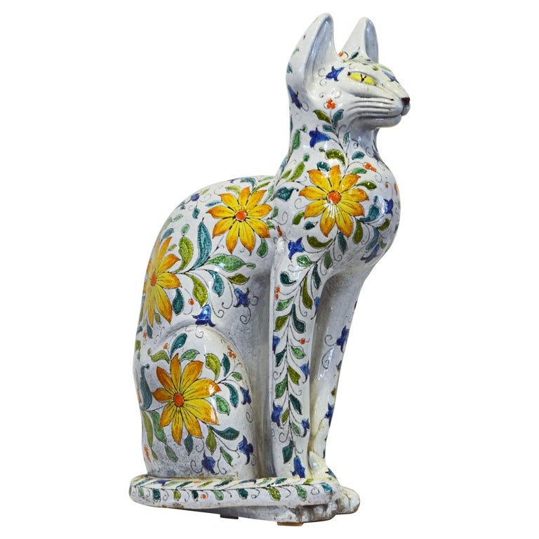 Egyptian Inspired Glazed Terracotta Cat with Floral Decoration, 20th Century For Sale