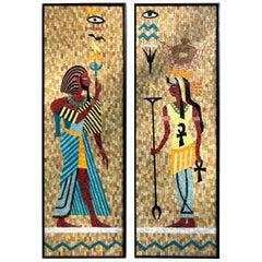 Egyptian King Tut Cleopatra Sun God Ra Eye Pair of Mosaic Tile Wall Hangings