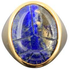 Egyptian Lapis Lazuli Scarab Gold Ring, 664-332 B.C