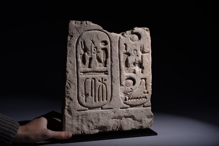 Egyptian Limestone Cartouche of Pharaoh Ramesses the Great - 1279 BC In Excellent Condition For Sale In London, GB