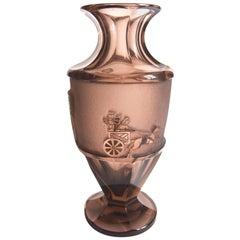 Bohemian Egyptian Lion Hunt Moser Deep Acid Etched Glass Vase