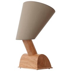 Egyptian 'Nefertiti', Table Lamp in Olive Wood and Silk Shade