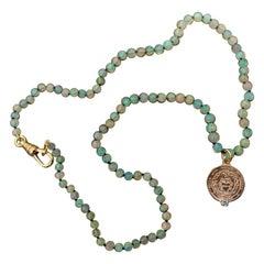 Egyptian Opal Aquamarine Choker Necklace Medal Heart Bronze J Dauphin