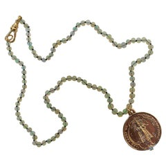 Egyptian Opal Aquamarine Choker Necklace Medal Virgin Mary Bronze J Dauphin
