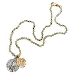 Egyptian Opal Bead Aquamarine Choker Necklace Medal Vintage Virgin Mary