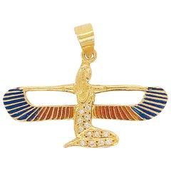 Egyptian Protection Goddess 0.15 Carat Diamond & Enamel Pendant, 14K Yellow Gold
