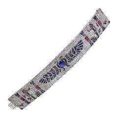 Egyptian Revival 11.8 Carat Diamond Bracelet in 18 Karat Gold, Paris, circa 1950