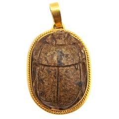 Egyptian Revival 18 Karat Gold Wood Scarab Pendant