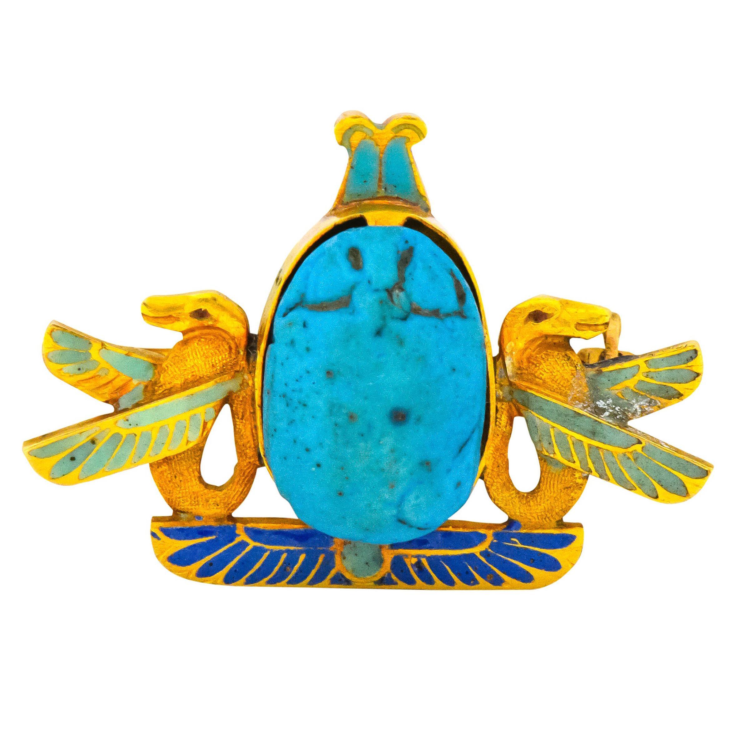f71396ea10f4d Egyptian Revival Antique Scarab Enamel 18 Karat Gold Brooch