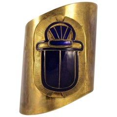 Egyptian Revival Brass Statement Cuff Bangle with Blue Enamel Scarab circa 1980s