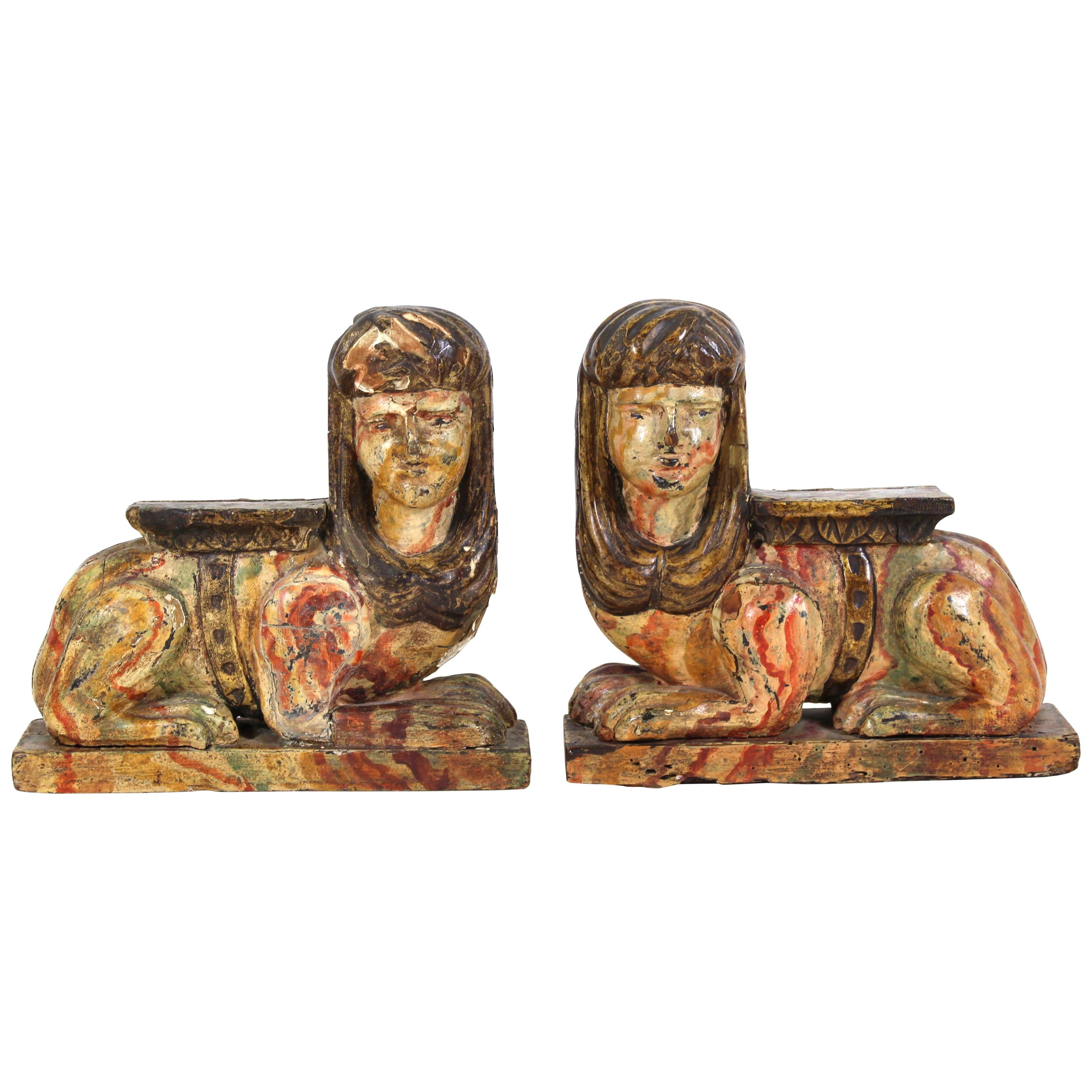 Egyptian Revival Carved & Painted Wood Sphinxes