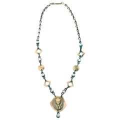 Egyptian Revival Celluloid Necklace Vintage