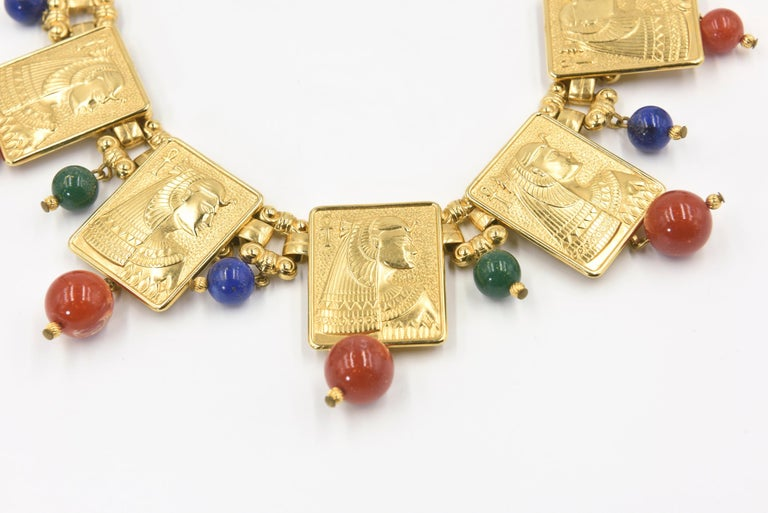Women's Egyptian Revival Cleopatra Gilt Plaque Necklace and Earrings For Sale