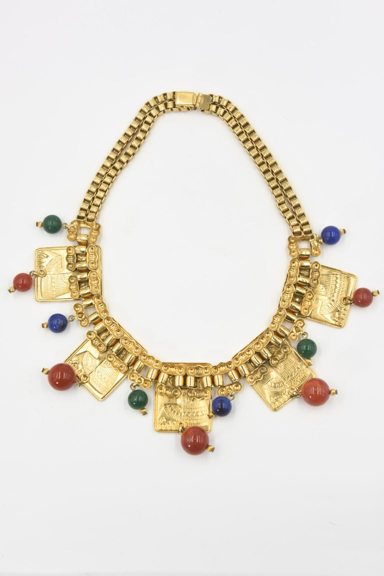 Egyptian Revival Cleopatra Gilt Plaque Necklace and Earrings For Sale 1