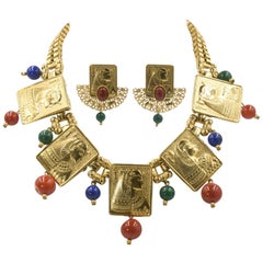 Egyptian Revival Cleopatra Gilt Plaque Necklace and Earrings