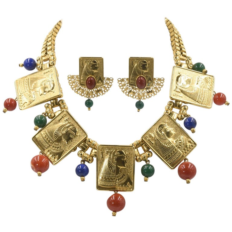 Egyptian Revival Cleopatra Gilt Plaque Necklace and Earrings For Sale