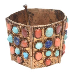Egyptian Revival Coral, Turquoise and Lapis Vermeil Cuff Bracelet