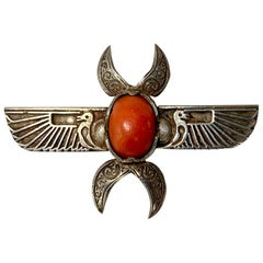 Egyptian Revival Coral Winged Scarab Horus Brooch Pin Art Deco Silver