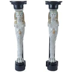 Egyptian Revival Corner Pedestals, Style of Madeleine Castaing