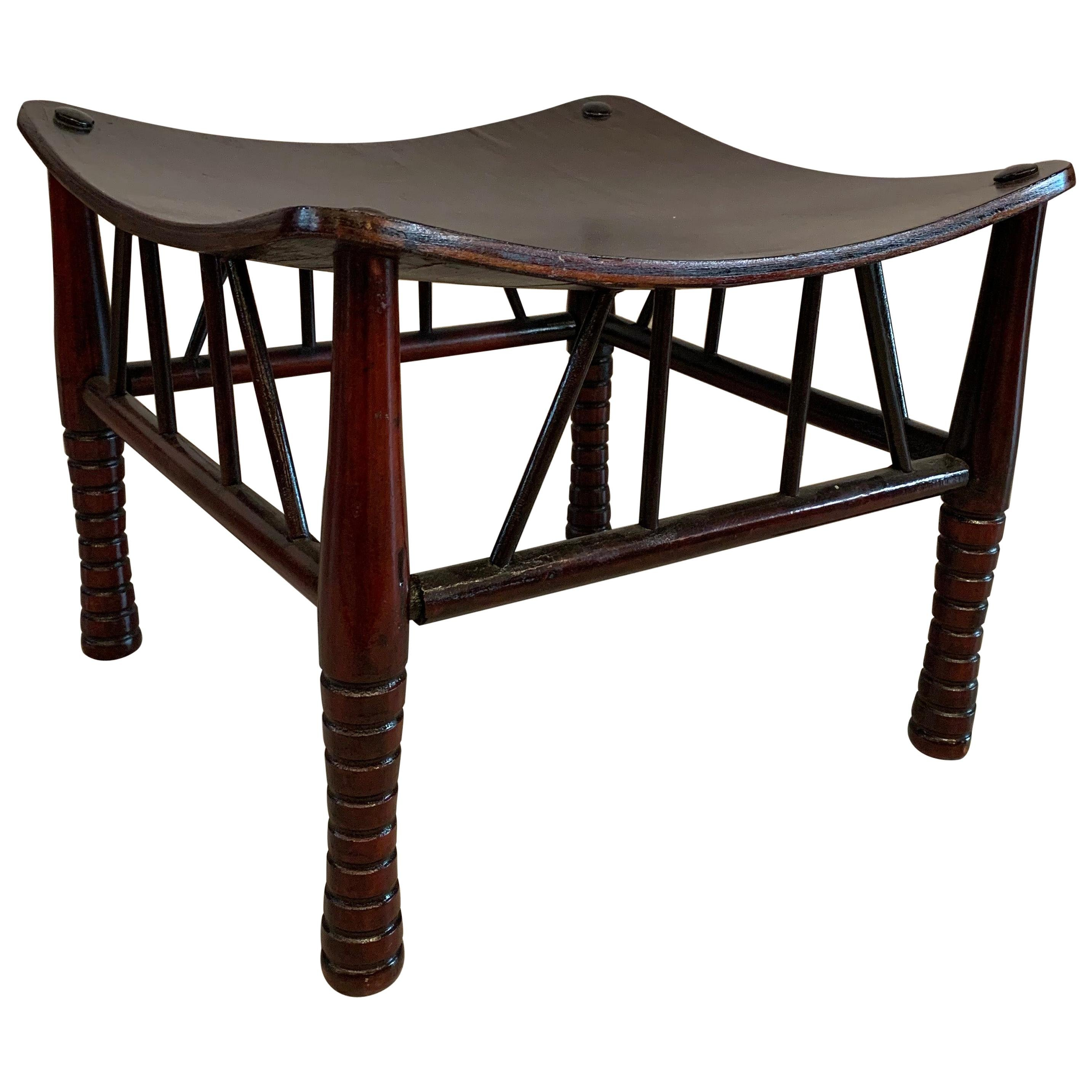 Egyptian Revival Dark Maple Thebes Stool, Liberty & Co.