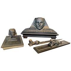 Egyptian Revival Desk Set, Stunning Group of Bronzes for the Desk by Schwarz