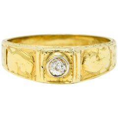 Egyptian Revival Diamond 14 Karat Gold Lotus and Pharaoh Ring
