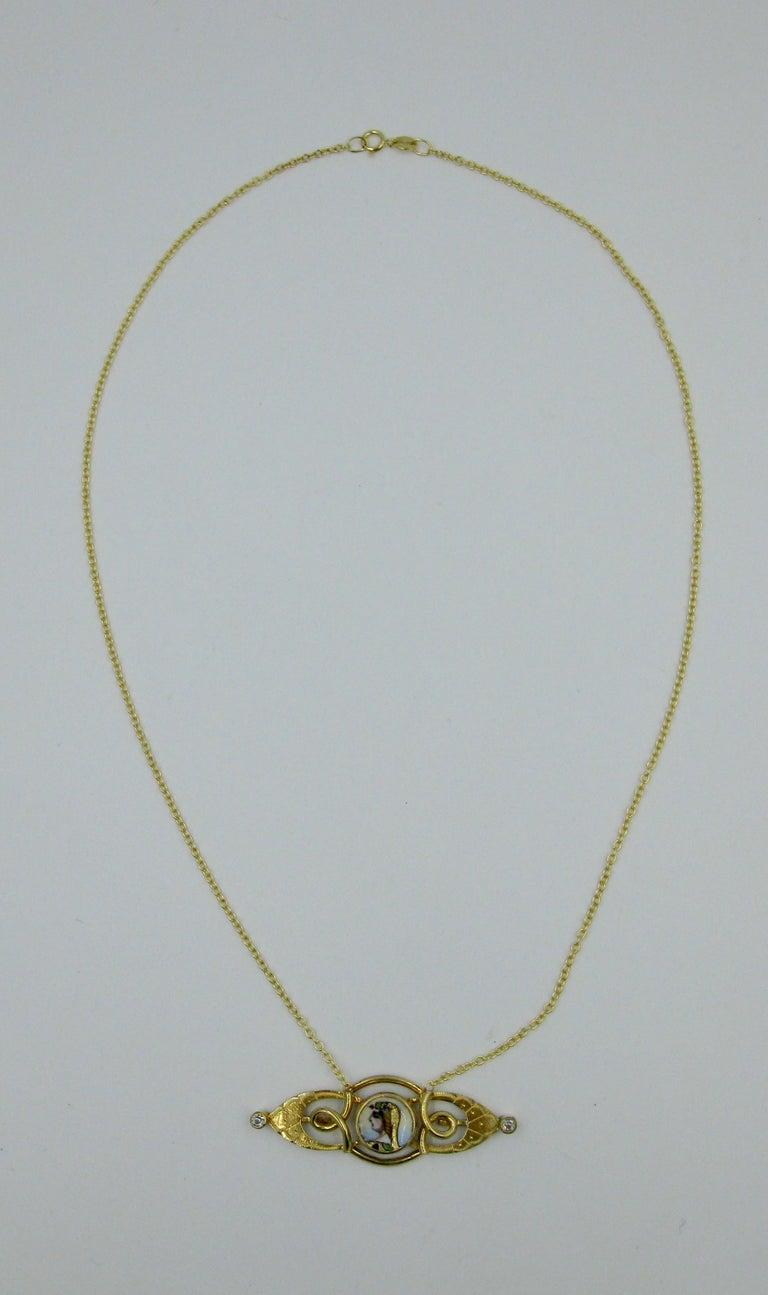 Egyptian Revival Diamond Gold Necklace Cleopatra Enamel ...