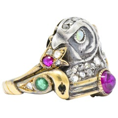 Egyptian Revival Diamond Ruby Opal Emerald Silver and Gold Unisex Ring Victorian