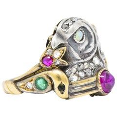 Egyptian Revival Diamond, Ruby Opal Emerald Silver & Gold Unisex Ring, Victorian
