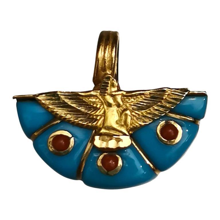 Egyptian Revival Eagle Turquoise Gold 18 Karat Pendant Charm For Sale