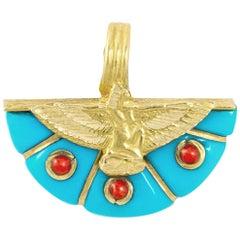 Egyptian Revival Eagle Turquoise Gold 18 Karat Pendant Charm