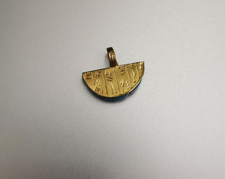 Eagle Turquoise Gold 18k Pendant Charm. Hieroglyphic inscriptions. Egyptian revival.