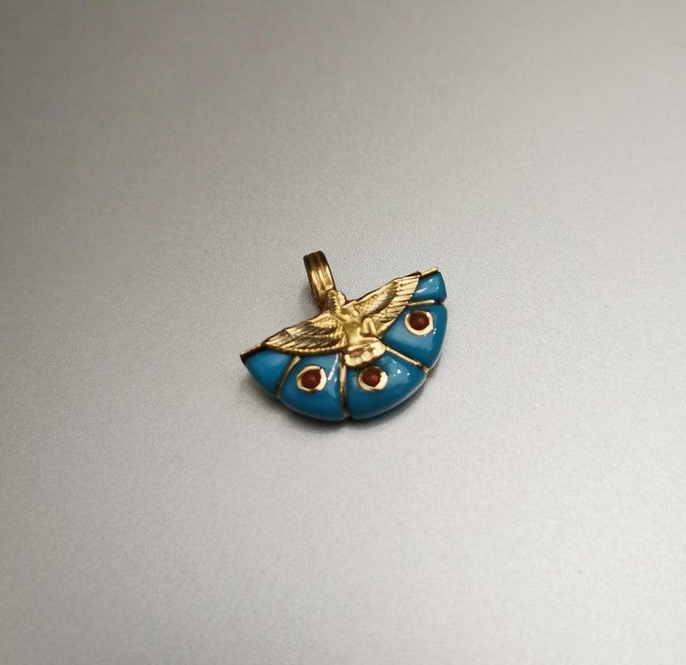 Women's or Men's Egyptian Revival Eagle Turquoise Gold 18 Karat Pendant Charm For Sale