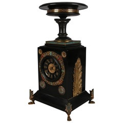 Egyptian Revival Ebonized and Enameled Mantel Clock with Cast Bronze Paw Feet