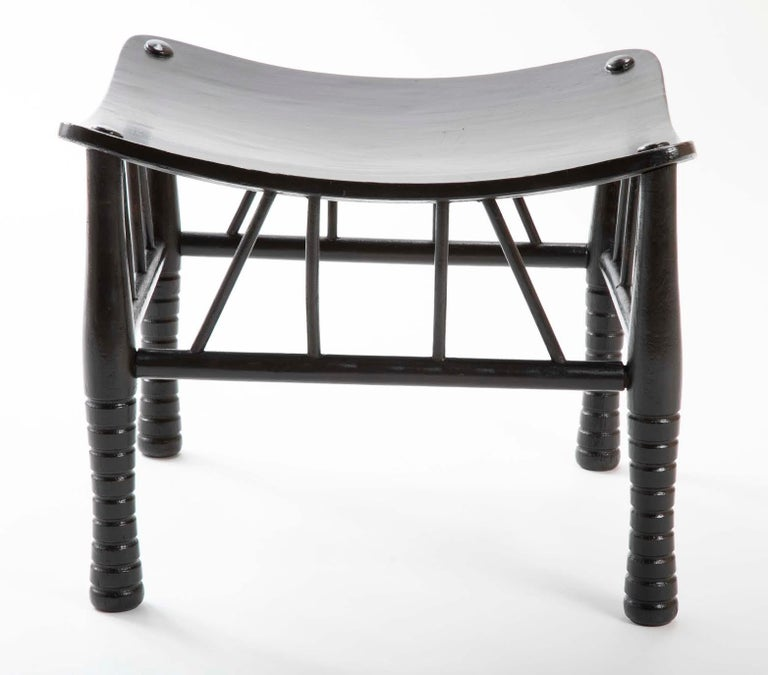 Egyptian Revival Ebony Thebes Stool, English 19th Century In Excellent Condition For Sale In Stamford, CT