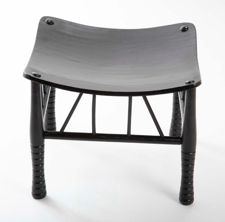 Wood Egyptian Revival Ebony Thebes Stool, English 19th Century For Sale