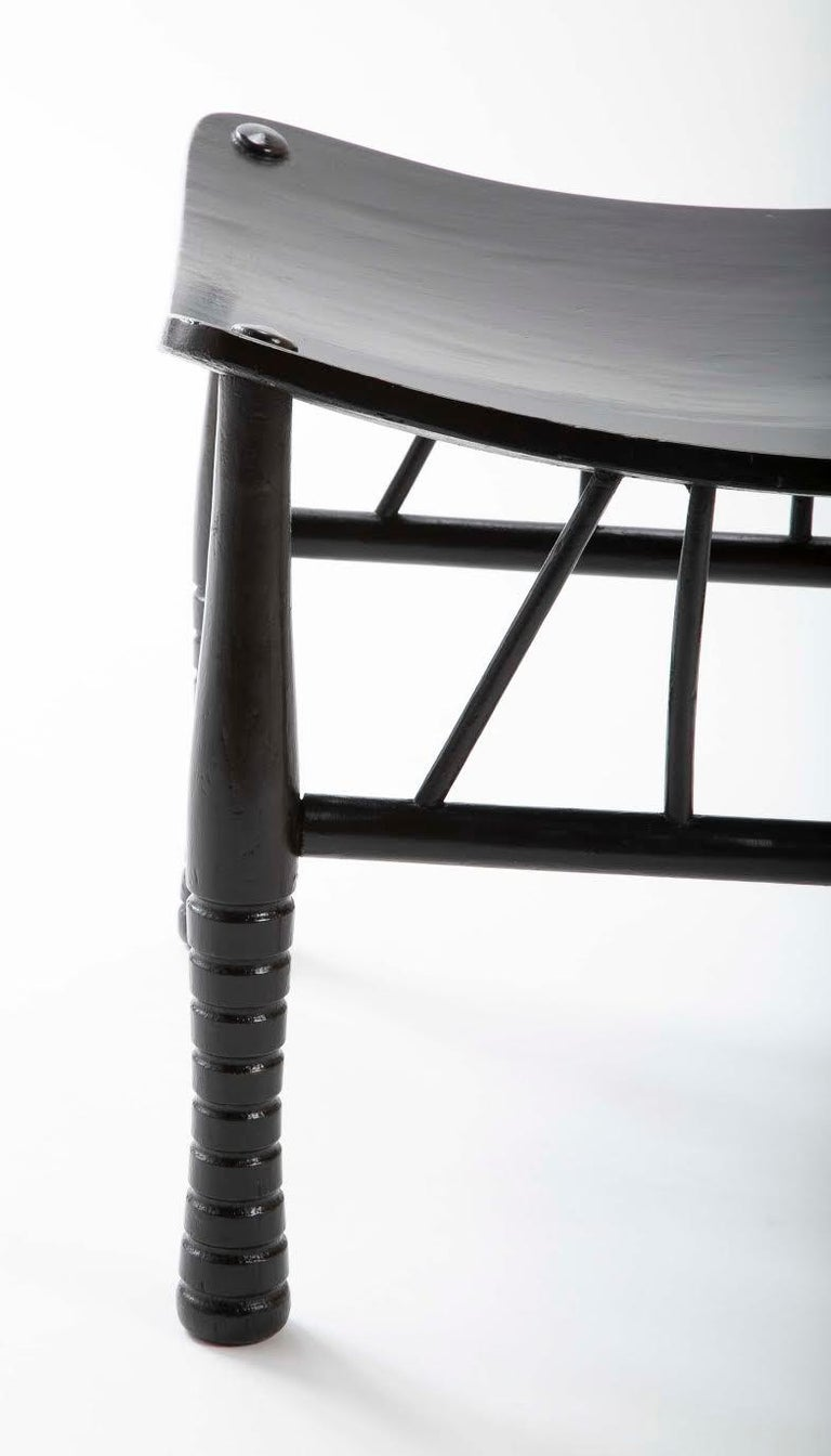 Egyptian Revival Ebony Thebes Stool, English 19th Century For Sale 1