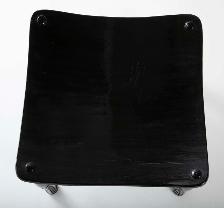 Egyptian Revival Ebony Thebes Stool, English 19th Century For Sale 3