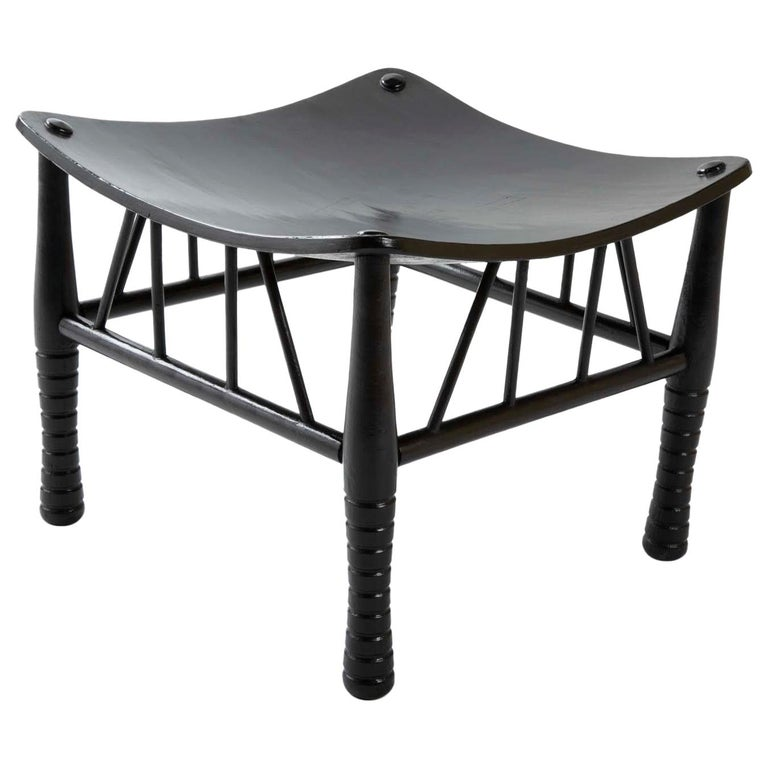 Egyptian Revival Ebony Thebes Stool, English 19th Century For Sale