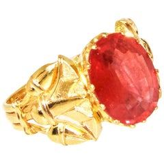 Egyptian Revival Fire Opal and Gold Ring, circa 1920