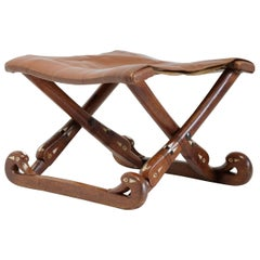 Egyptian Revival Folding Stool, Oak, Bone and Ebony Inlay, Leather, French
