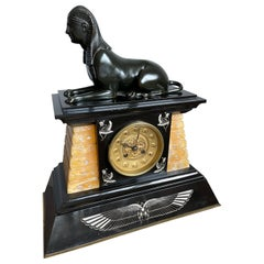 Egyptian Revival French Marble Mantel or Table Clock w. Bronze Sphinx Sculpture