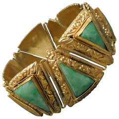 Egyptian Revival GIA Jade Bracelet