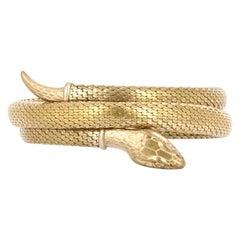 Egyptian Revival Gold Snake Bangle Bracelet