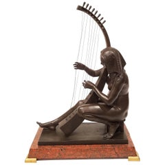 Egyptian Revival Grand Tour Bronze of Maiden Playing a Harp