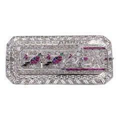 Egyptian Revival Hieroglyphic Bird Diamond Ruby Sapphire Emerald Onyx Brooch