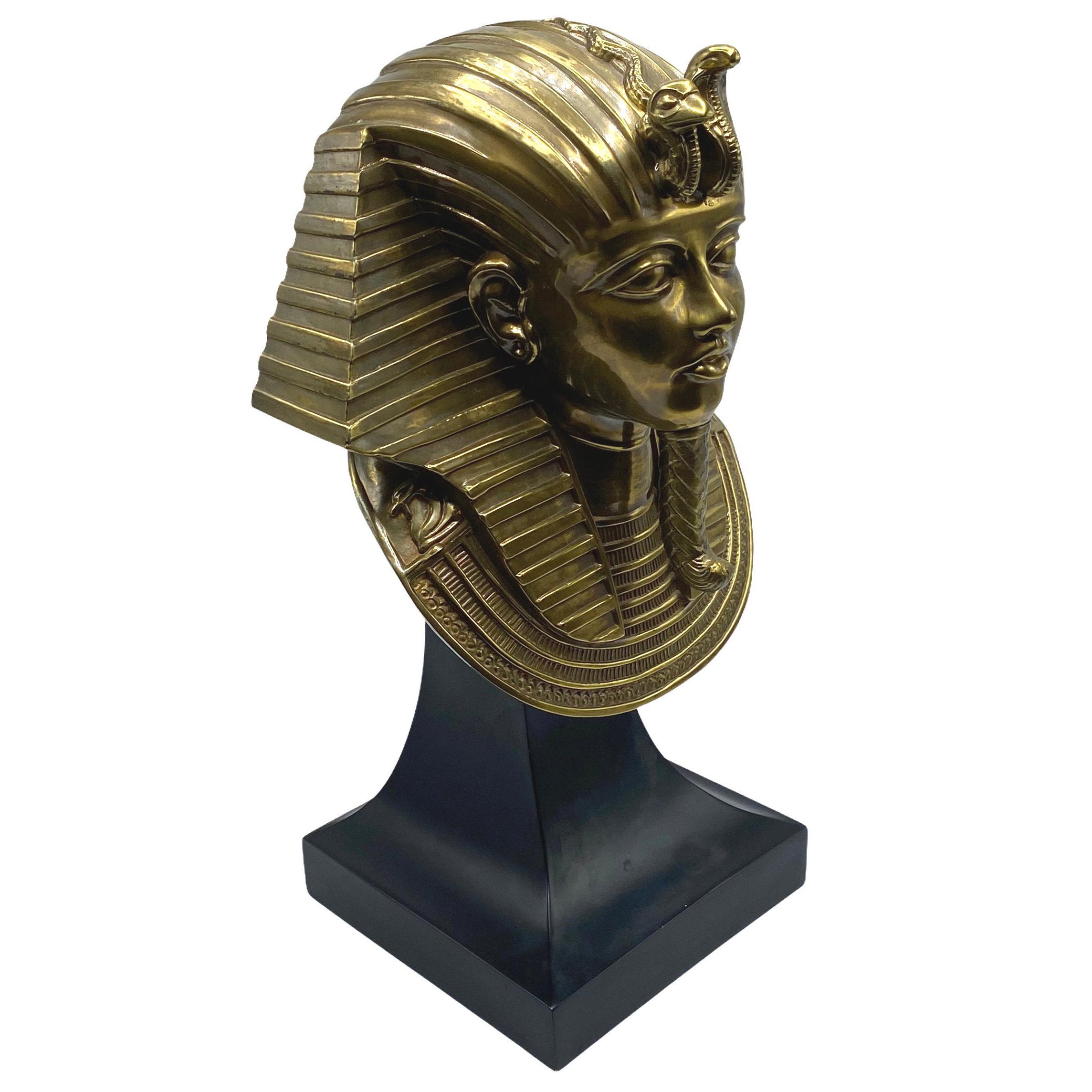 Egyptian Revival King Tut Bronze Bust Sculpture