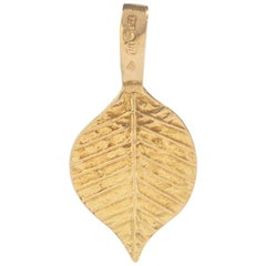 Egyptian Revival Leaf Yellow Gold 18 Karat Pendant Charm