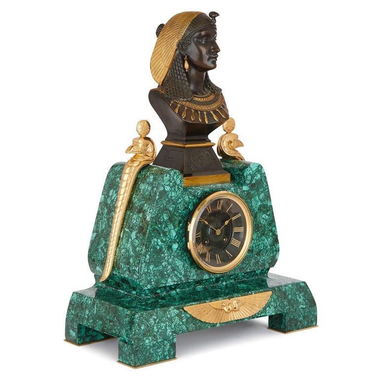 French Egyptian Revival Malachite, Marble, Gilt and Patinated Bronze Clock Set For Sale