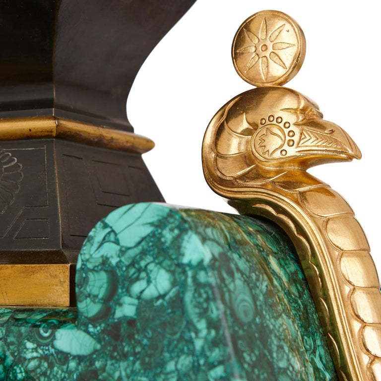 20th Century Egyptian Revival Malachite, Marble, Gilt and Patinated Bronze Clock Set For Sale